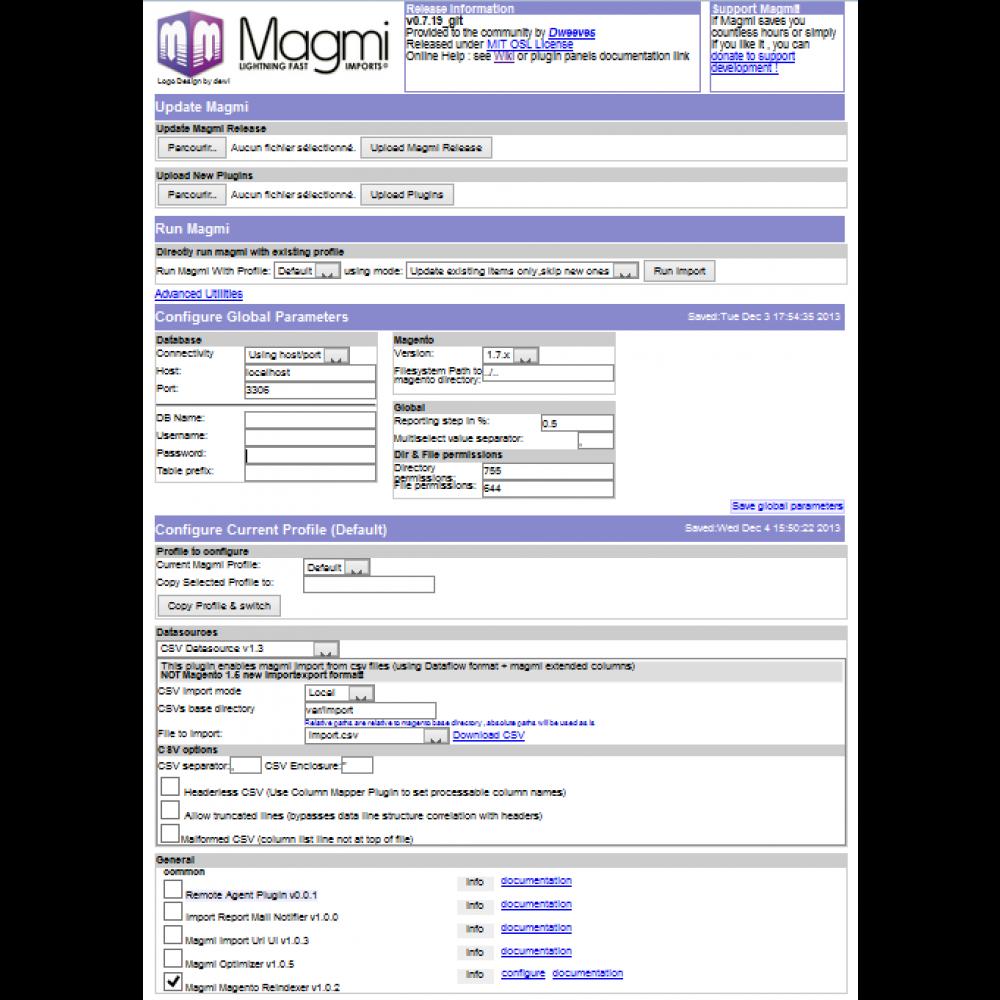 Magmi Main page - Magento Mass Importer