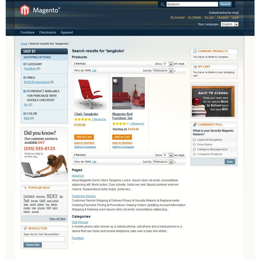 Magento Search: Results